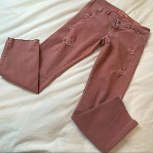 Guess Britney Skinny Pink Distressed Ankle Length